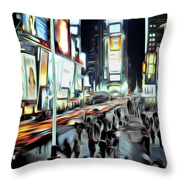 People Walking In Time Square Throw Pillow