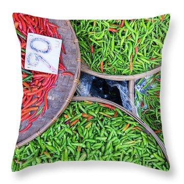 Peppers At The Market Throw Pillow