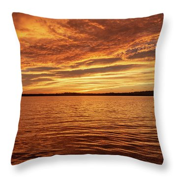 Percy Priest Lake Sunset Throw Pillow
