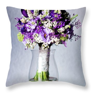 Perfect Bridal Bouquet For Colorful Wedding Day With Natural Flowers. Throw Pillow
