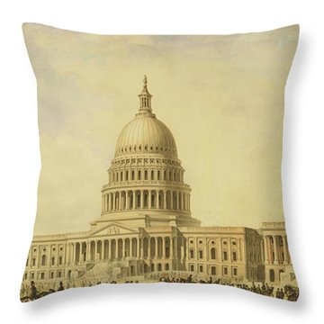 Perspective Rendering Of United States Capitol Throw Pillow