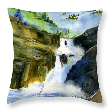 Petroglyph Falls Fishing Throw Pillow