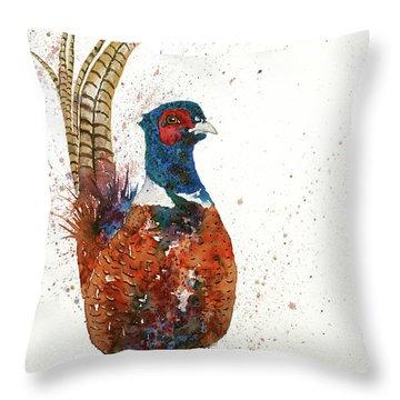 Pheasant Portrait Throw Pillow