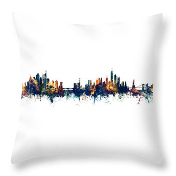 Philadelphia And New York City Skylines Mashup Throw Pillow