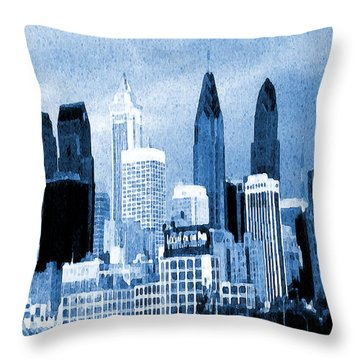 Philadelphia Blue - Watercolor Painting Throw Pillow