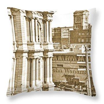 Philadelphia City Hall And Wanamaker Store C 1900 Vintage Photog Throw Pillow