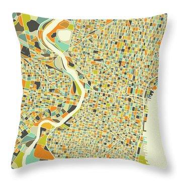 Philadelphia Map 1 Throw Pillow