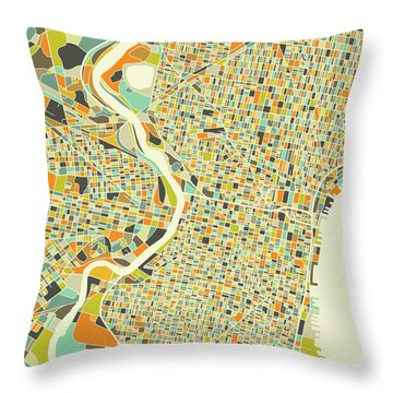 Philadelphia Map 1 Throw Pillow