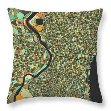 Philadelphia Map 2 Throw Pillow