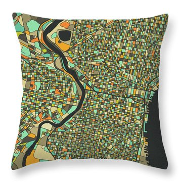 Philadelphia Map 2 Throw Pillow
