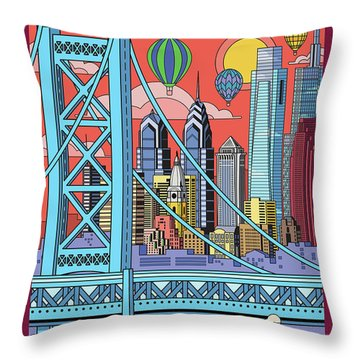 Philadelphia Poster - Pop Art - Travel Throw Pillow