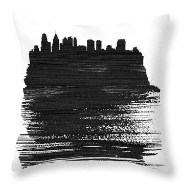 Philadelphia Skyline Brush Stroke Black Throw Pillow