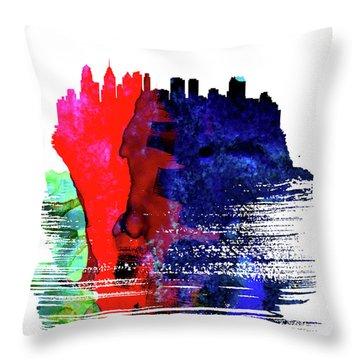Philadelphia Skyline Brush Stroke Watercolor   Throw Pillow
