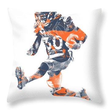Phillip Lindsay Denver Broncos Pixel Art 2 Throw Pillow