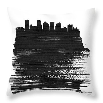 Phoenix Skyline Brush Stroke Black Throw Pillow