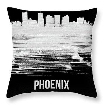 Phoenix Skyline Brush Stroke White Throw Pillow