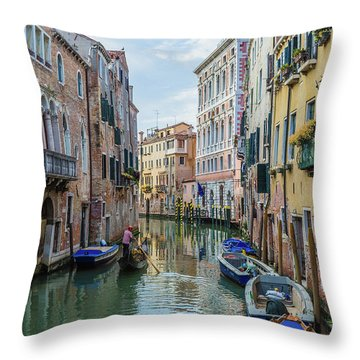 Gondolier On Canal Venice Italy Throw Pillow