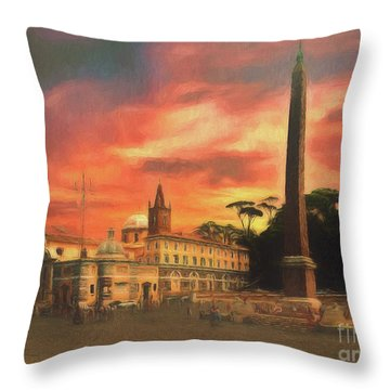Piazza Del Popolo Rome Throw Pillow