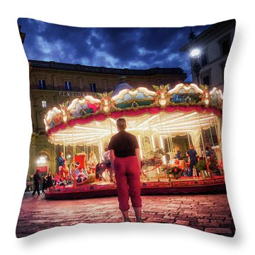 People At Piazza Della Reppublica At Night In Florence, Italy - Painterly Effect Throw Pillow