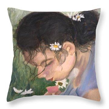 Picking Daisies Throw Pillow