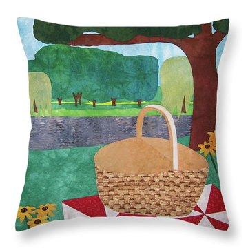 Picnic At Ellis Pond Throw Pillow