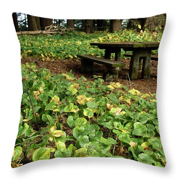 Picnic  Table In The Forest  Throw Pillow