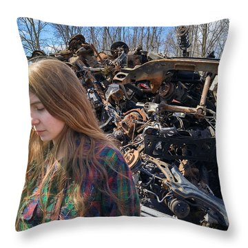 Throw Pillow featuring the photograph Pieces And Parts by Carl Young