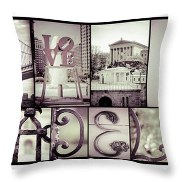 Pieces Of Philly Throw Pillow