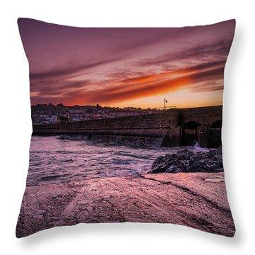 Pier To Pier Sunset Throw Pillow