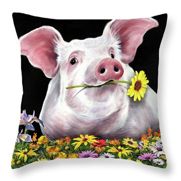 Pig With Flowers Throw Pillow