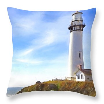 Pigeon Point Lighthouse Ca Throw Pillow