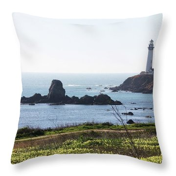 Pigeon Point Lighthouse With Wildflowers Throw Pillow