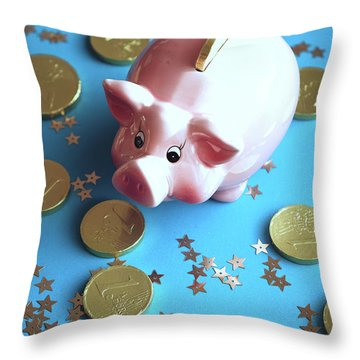 Piggy Bank On The Background With The  Chocoladen Coins Throw Pillow