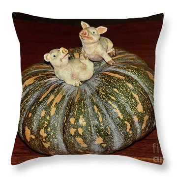 Pigs On Pumpkin By Kaye Menner Throw Pillow