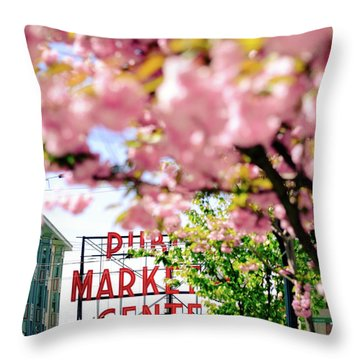 Throw Pillow featuring the photograph Pike Place Market In Seattle by Nicole Young