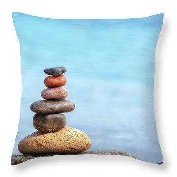 Pile Of Beach Pebbles Throw Pillow