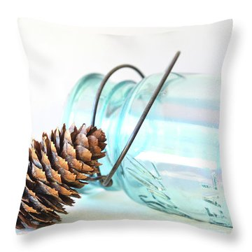 Throw Pillow featuring the photograph Pine Cone And A Jar by Michelle Wermuth