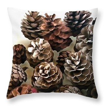 Pine Cones Organic Christmas Ornaments Throw Pillow