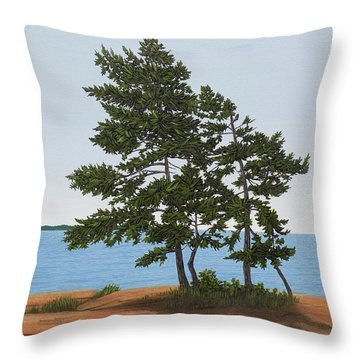 Throw Pillow featuring the painting Pine On The Point by Kenneth M Kirsch