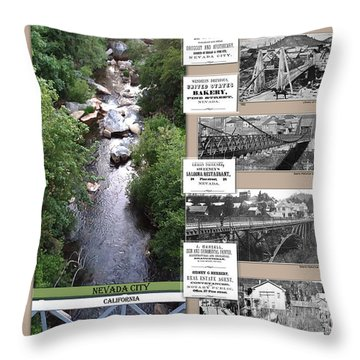Pine Street Bridge, Nevada City, Ca Throw Pillow