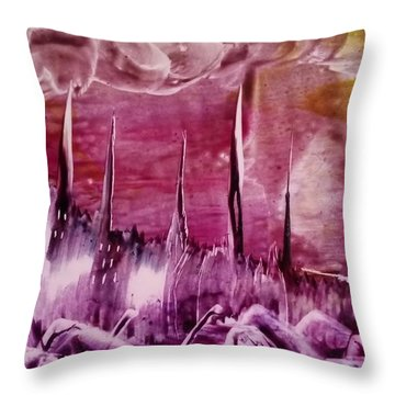 Pink Abstract Castles Throw Pillow