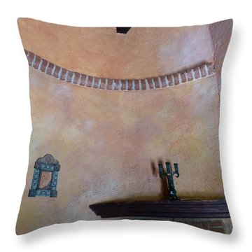 Throw Pillow featuring the photograph Pink Adobe Wall by Rosanne Licciardi