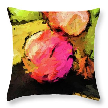 Pink And Green Apples With The Yellow Banana Throw Pillow