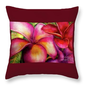 Pink And Red Plumerias Throw Pillow