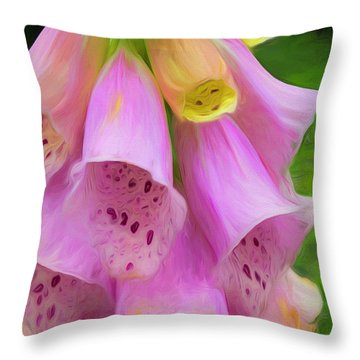 Throw Pillow featuring the digital art Pink Bells by Cindy Greenstein