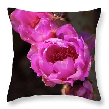 Throw Pillow featuring the photograph Pink Cactus Flowers 2 by Tatiana Travelways