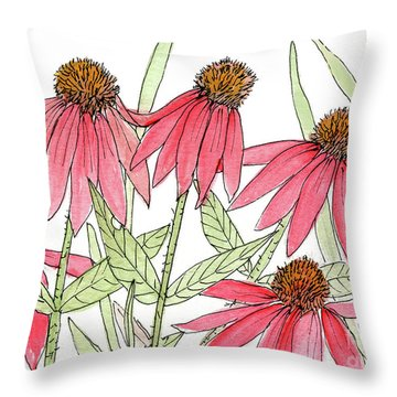 Pink Coneflowers Gather Watercolor Throw Pillow