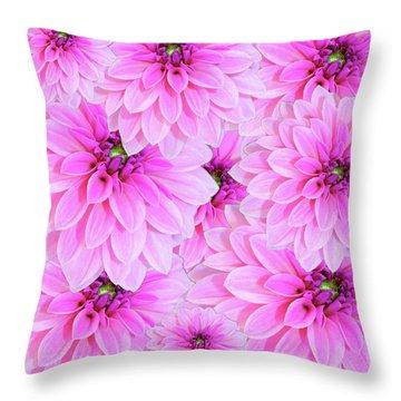 Pink Dahlia Flower Design Throw Pillow