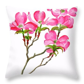 Pink Dogwood Array Vertical Design Throw Pillow
