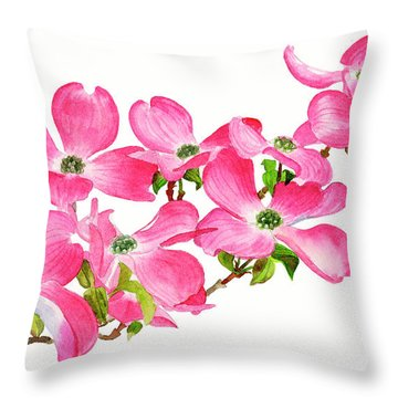Pink Dogwood On A Branch, Horizontal Design Throw Pillow